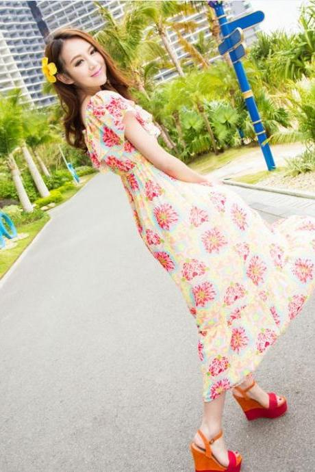 Chiffon Ruffle Strapless Tube Top Floral Print Women's Dress Two Ways Full Dress Beach Dress-Rose