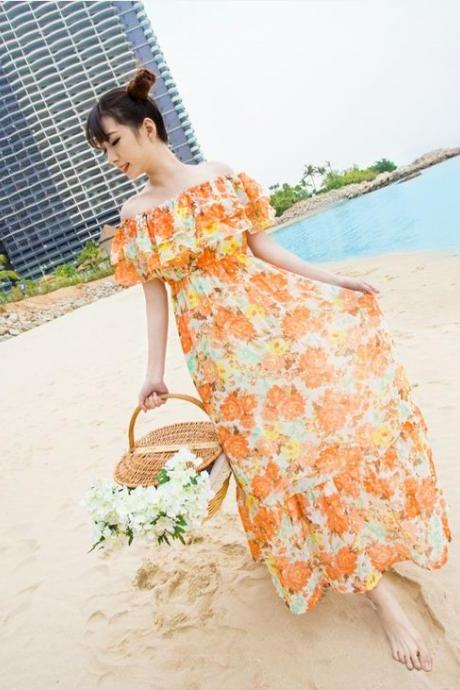 Chiffon Ruffle Strapless Tube Top Floral Print Women's Dress Two Ways Full Dress Beach Dress-Yellow