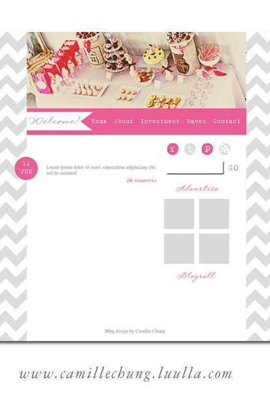 Gorgeous Wordpress Chevron Blog in Grey and Pink by Camille Chung