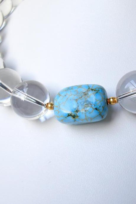 Turquoise, Quartz and 20K Solid Gold Necklace