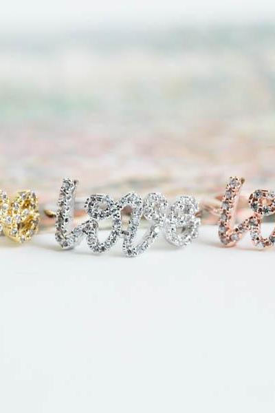 Cz love letter knuckle ring,Jewelry,Ring,bridal ring,anniversary ring,engagement ring,bridesmaid ring,anniversary gift,valentines gift,R421N