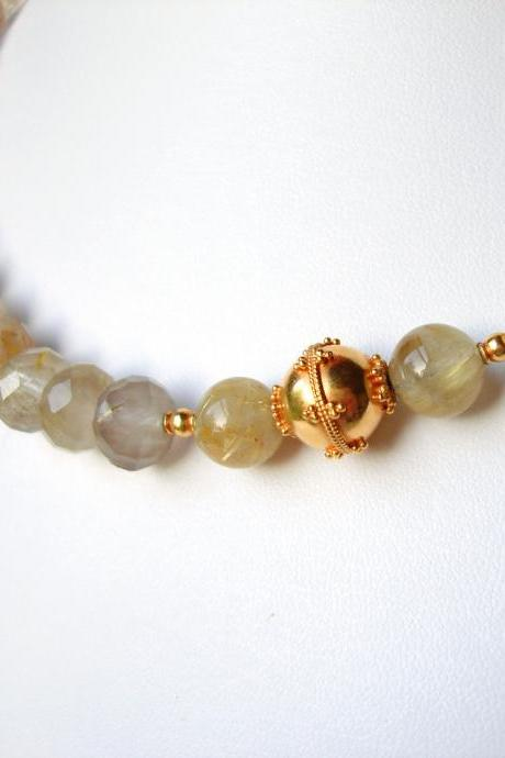 Gold Rutilated Quartz & 20K Solid Gold Necklace