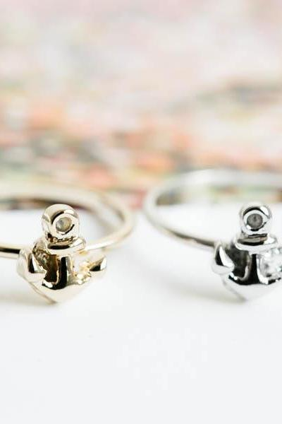 Mini cute anchor ring,Jewelry,Knuckle ring,eternity ring,pinky ring,anniversary ring,anchor ring,bridesmaid ring,mini anchor ring,R269N