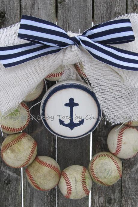 The Original Navy Seafarer Burlap Baseball Wreath with Distressed Plaque