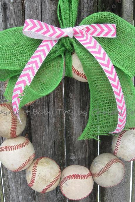 The Original Spring Training Chevron Burlap Baseball Wreath