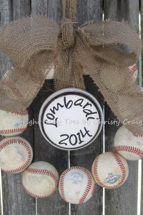 The Original Burlap Baseball Wreath with Name Plaque