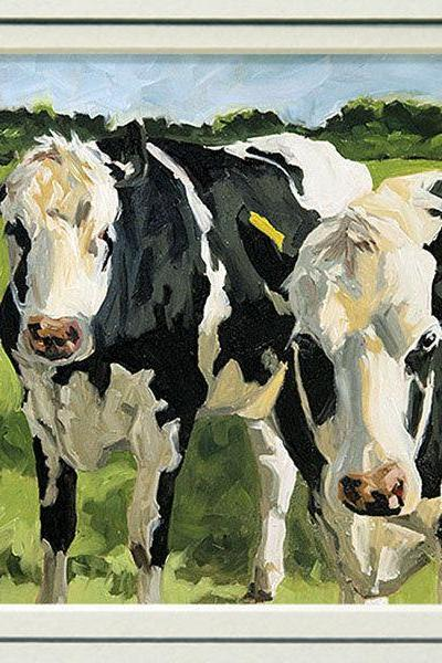 Cow art giclee print from an original animal painting, in 8x10 double mat, 'Out Standing'