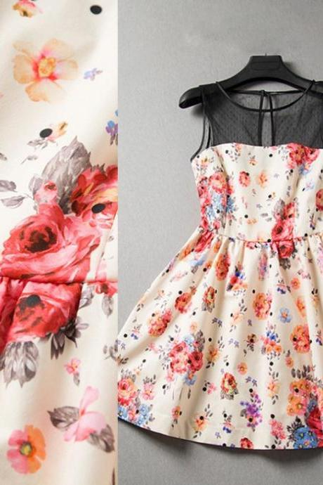 Floral sleeveless dress fashion splicing ADBDBB