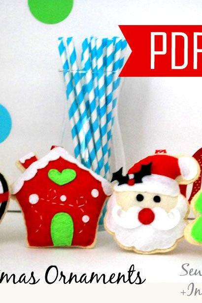 PDF DIY Christmas Ornament, 4 Felt Sewing Pattern Penguin, gingerbread house, Santa and Christmas Tree- Kit C, Instant A866