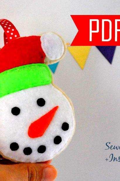 DIY Snowman Christmas Ornament PDF Cookie Sewing pattern , Kids craft Project y Instant Download Ornament File A872