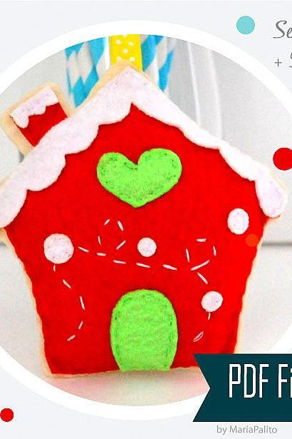 DIY Ginger Bread House Christmas House Sewing pattern - PDF ePATTERN , Christmas Ornament Instant Download A909