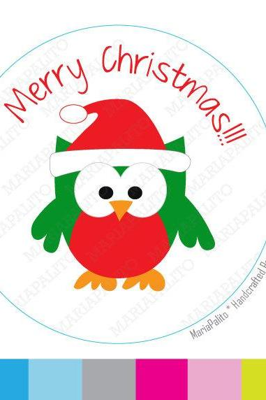 Chistmas Stickers, Christmas Owl PRINTED round Stickers, tags, Labels or Envelope Seals MariaPalito A919