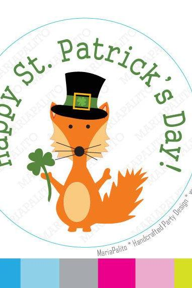 Fox St Patrick's day Stickers, Happy St Patrick's day PRINTED round Stickers, tags, Labels or Envelope Seals A962