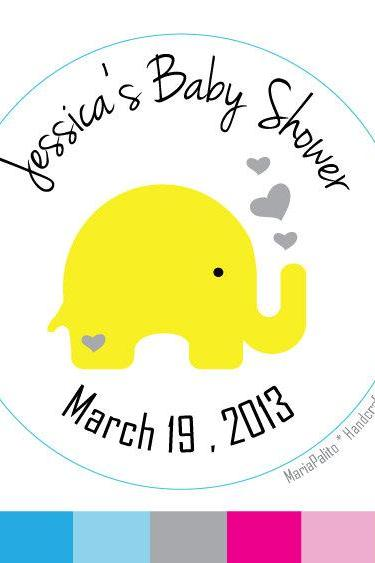 Baby Shower Stickers, Baby Elephant , Personalized Baby Shower PRINTED round Stickers, tags, Labels or Envelope Seals MariaPalito A581