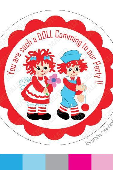 Raggedy Ann Stickers, Raggedy Ann and Andy PRINTED round Stickers, tags, Labels or Envelope SealsMariaPalito A814