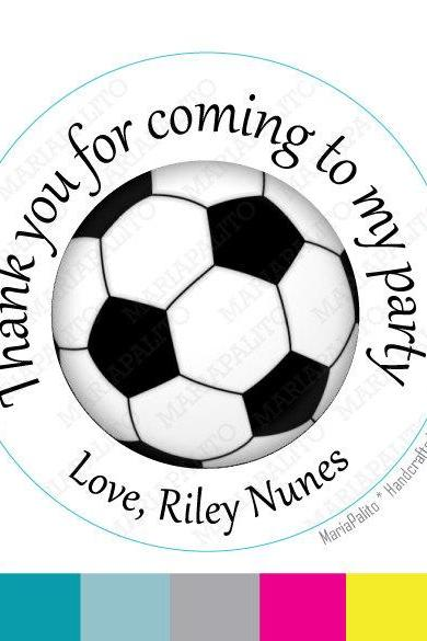 Soccer stickers Party Personalized PRINTED round Stickers, Labels or Envelope Seals MariaPalito A932