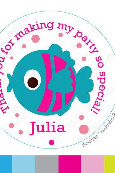 GoldFish Fish Stickers,Thank you Fish stickers, Under the sea party Favor Stickers, Thank You Labels or Envelope Seals MariaPalito A936