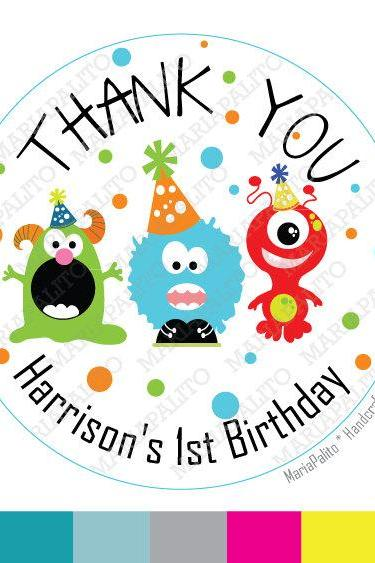 Monster Birthday Party Personalized Thank you Birthday PRINTED round Stickers, tags, Labels or Envelope Seals MariaPalito A658