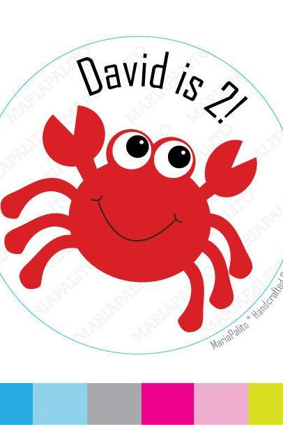 Crab Stickers, PRINTED round Stickers, tags, Labels or Envelope Seals MariaPalito A811