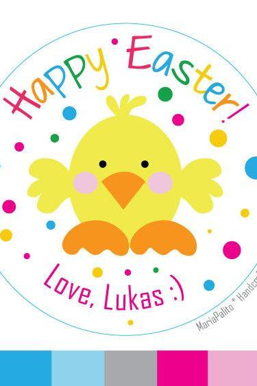 Personalized PRINTED Stickers, Happy Easter Round Stickers, Envelope Seals A576