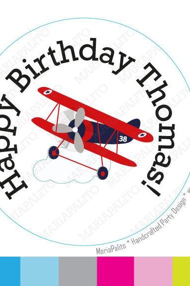 BiPlane stickers Party Personalized PRINTED round Stickers,Happy Birthday Plane tags, Labels or Envelope Seals MariaPalito A930