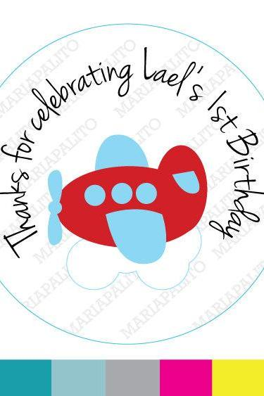 Plane stickers Party Personalized PRINTED round Stickers, tags, Labels or Envelope Seals MariaPalito A930