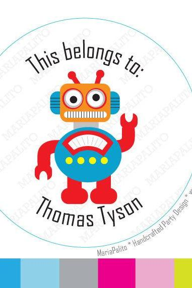 Robot Stickers, This belong to: Personalized PRINTED round Stickers, tags, Labels or Envelope Seals A959