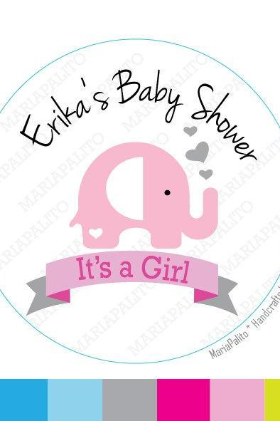 Baby Shower Baby Elephant , its a Girl Elephant Personalized Baby Shower PRINTED round Stickers, tags, Labels or Envelope Seals A815