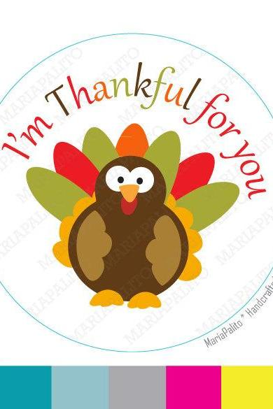 Thanksgiving Stickers, I am Thankful for you Turkey Personalized Stickers, PRINTED round Stickers, tags, Labels or Envelope Seals A787