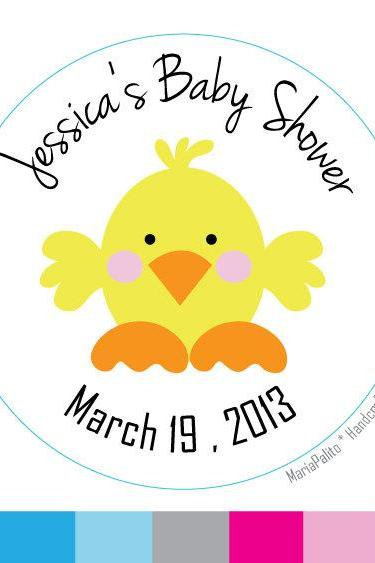Baby Shower stickers Baby Chick , Personalized Baby Shower PRINTED round Stickers, tags, Labels or Envelope Seals A579