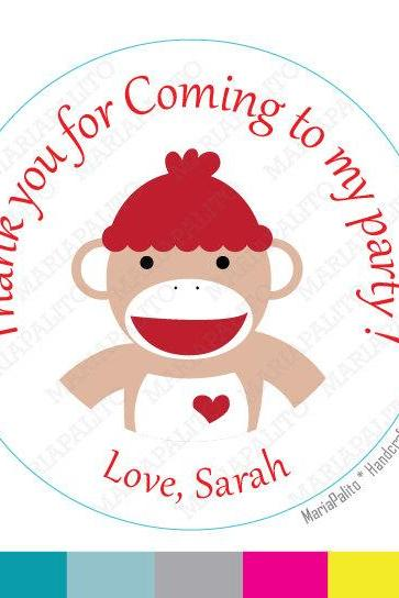 Sock Monkey stickers Party Personalized Sock Monkey PRINTED round Stickers, tags, Labels or Envelope Seals MariaPalito A797