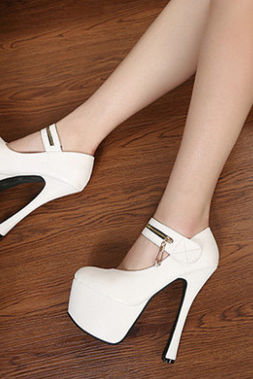 Sexy White Bridal Wedding Shoes High Platform Stiletto Heel Pumps 2 Colors