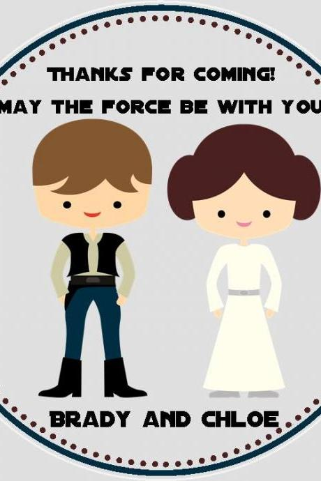 Han Solo and Princess Leia Favor Tags