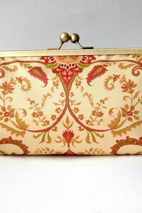 Kisslock Frame Clutch Silk Lined Damask