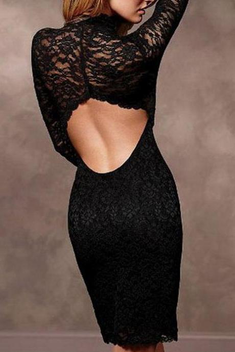 Sexy Woman Open Back Black Lace Sheath Dress