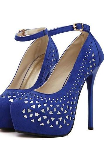 Royal Blue Strappy Fashion High Heel Pumps