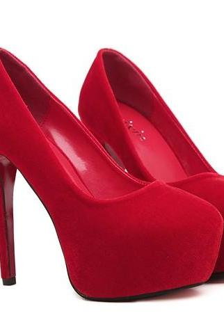 Red Round Toe Suede Stiletto Pumps
