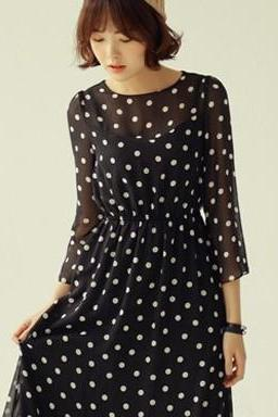 2014 Spring Summer Retro Inspired Polka Dot Chiffon Dress