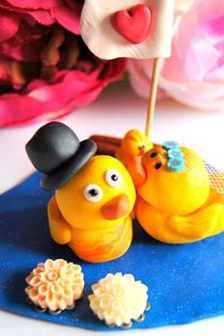 Duck couple cake topper