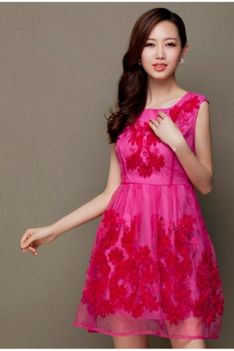 Fashion Designer Gorgeous Embroidered Lace Dress - Rose