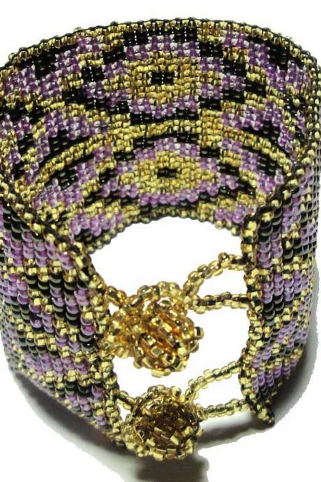 Peyote Lavender and gold Large Multi Diamond Patern Cuff bracelet