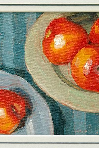 Limited Edition Print from a fruit painting of plums, in 8x10 double mat, 'Like Ships That Pass'