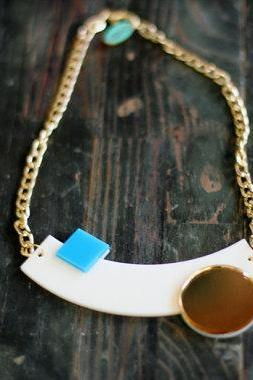Cream Geometric Necklace,Plexiglass Jewelry,Statement Necklace,Choker,Lasercut Acrylic