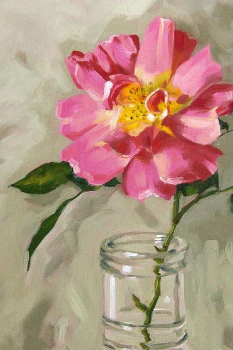 Rose painting, floral giclee on canvas with gallery wrap, 16x20, art print from an original oil painting, 'Old Garden Rose'