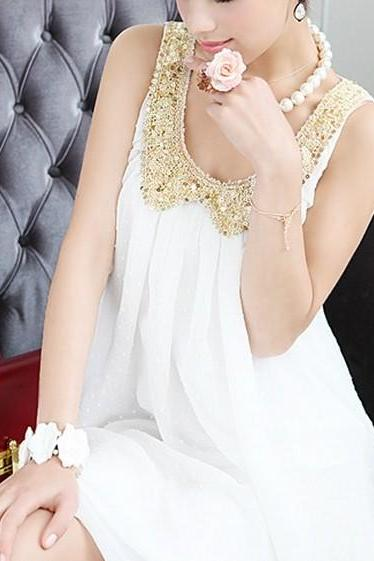 White sleeveless chiffon dress ADCAB