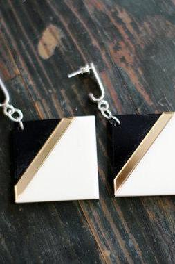 Black Geometric Earrings,Statement Earrings,Plexiglass Jewelry,Geometric Jewelry,Lasercut Acrylic