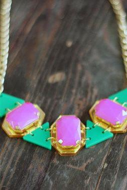 Fushia Drops Statement Necklace,Plexiglass Jewelry, Geometric Necklace,Lasercut Acrylic