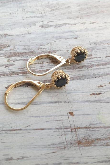 Gold earrings, black earings, dangle earrings, classic earrings, special jewelry, goldfilled earrings -6630
