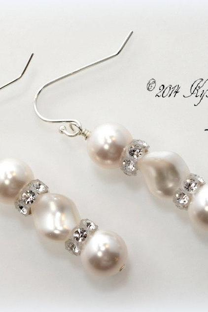 Pearl Bridal Earrings with Swarovski Crystals, Pearl Earrings, Wedding Jewelry, Bridal Jewelry