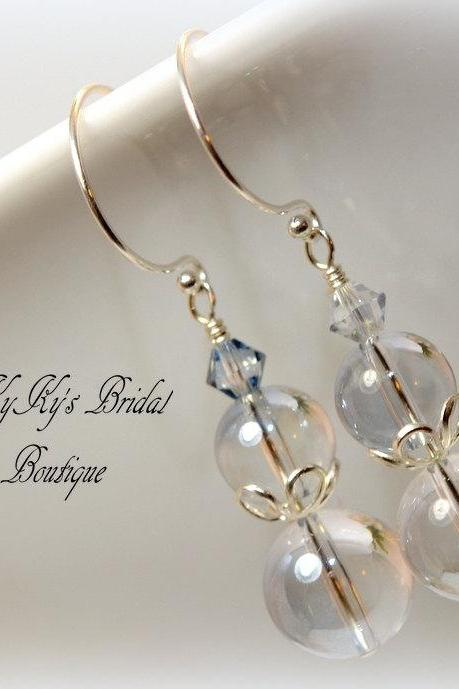 Something Blue Bridal Earrings, Pearl and Crystal Bridal Earrings, Wedding Jewelry